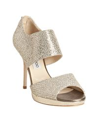 Jimmy Choo | Metallic Champagne Glitter Fabric Lagoon Sandals | Lyst