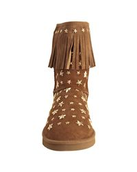 Jimmy Choo | Brown Ugg For Hazel Suede Studded Starlit Fringe Shearling Boots | Lyst
