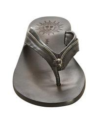 John Varvatos - Black Leather Zipper Trim Thong Sandals for Men - Lyst