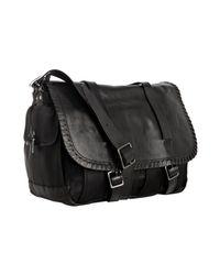 John Varvatos | Black Nylon Whipstitched Leather Detail Messenger Bag for Men | Lyst