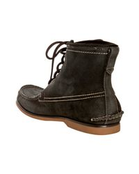 John Varvatos - Black Dark Ghurka Suede Moc Toe Boots for Men - Lyst
