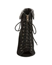 Joie - Black Caviar Suede Say It Aint So Lace-up Zip Peep Toe Booties - Lyst