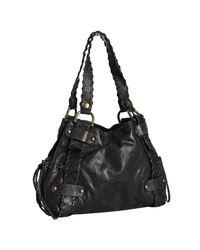 Kooba | Black Leather Sienna Whipstitch Brown Lined Shoulder Bag | Lyst