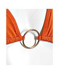 Letarte | Sienna Orange Ring Halter Ruffle Detail Bikini | Lyst