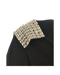 Literature Noir - Black Modal Jersey Studded Shoulder T-shirt - Lyst