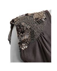 Love Sam | Gray Slate Silk Crepe V-neck Sequin Blouse | Lyst