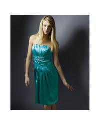 Marc Bouwer Glamit! | Blue Aqua Stretch Silk Pleated Strapless Dress | Lyst