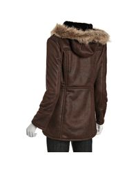 Marc New York - Brown Faux Shearling Addison Toggle Dyed Coyote Hood Coat - Lyst