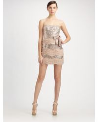 Badgley Mischka | Pink Sequined Tulle Ruffle Strapless Dress | Lyst
