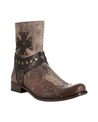 Mark Nason | Rock Lives Distressed Brown Leather Biarritz Studded Boots for Men | Lyst