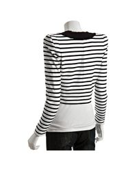 Markus Lupfer - Black and White Striped Cotton Alice Cropped Jacket - Lyst