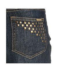 MICHAEL Michael Kors - Medium Blue Wash Studded Pocket Straight Leg Jeans - Lyst