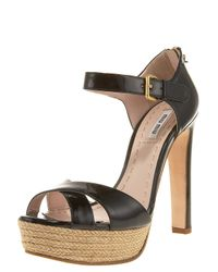 Miu Miu | Black Patent-leather Espadrille-platform Sandal | Lyst