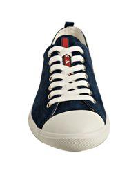 Prada - Sport Dark Blue Suede Cap Toe Sneakers for Men - Lyst