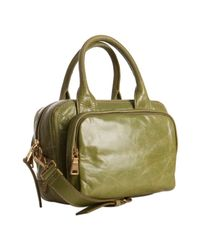 Prada | Green Vitello Shine Leather Bauletto Small Zip Satchel | Lyst