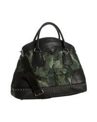 Prada | Green Smoke Camouflage Nylon Leather Trim Bauletto Bowler Bag | Lyst