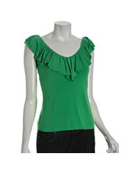 Rachel Pally | Green Apple Jersey Ruffle V-neck Top | Lyst