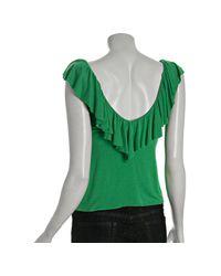 Rachel Pally - Green Apple Jersey Ruffle V-neck Top - Lyst