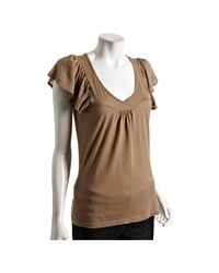 Rebecca Beeson | Brown Cocoa Cotton-modal Flutter Sleeve T-shirt | Lyst