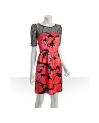 See By Chloé - Red Pink Floral Sateen Lace Top Dress - Lyst