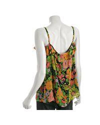 Shoshanna - Black Floral Silk Ruffle Camisole - Lyst