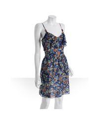 Shoshanna - Blue Silk Shoreline Beaded Strap Dress - Lyst