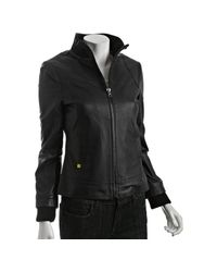 SOIA & KYO | Black Leather Elena Zip Front Jacket | Lyst