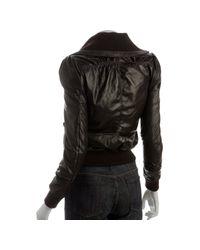 Stella & Jamie | Brown Leather Zip Front Pintuck Bomber Jacket | Lyst