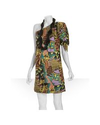 T-bags - Yellow Printed Jersey One-shoulder Necklace Dress - Lyst