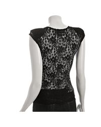 Reformation | Black Lace Turner Shoulder Pad Top | Lyst