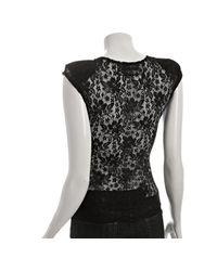 Reformation | Black Lace Turner Shoulder Pad Top | Lyst