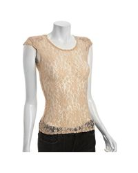 Reformation | Natural Nude Lace Turner Shoulder Pad Top | Lyst