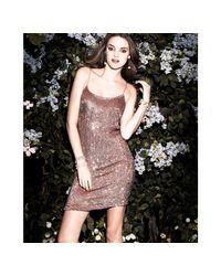 THEIA | Pink Rose Gold Silk Sequin Spaghetti Strap Dress | Lyst