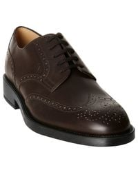 Tod's | Dark Brown Leather New Esquire Wing-tip Oxfords for Men | Lyst