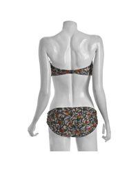 Zimmermann | Gray Neon Rainbow Feather Print Bandeau Cut Out Bikini | Lyst