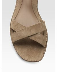 Belle By Sigerson Morrison | Brown Suede Crisscross Flat Sandals | Lyst