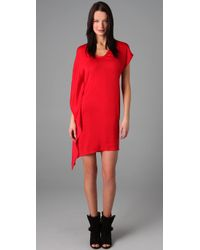 Helmut Lang | Red Asymmetric Sleeve Dress | Lyst
