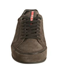Prada | Gray Sport Charcoal Leather Trim Suede Low Sneakers for Men | Lyst