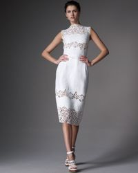 Dolce & Gabbana | White Lace-panel Embroidered Dress | Lyst