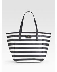 kate spade new york | Black Sidney Striped Vinyl Tote | Lyst