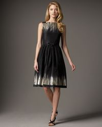 Carmen Marc Valvo | Black Metallic Printed Taffeta Cocktail Dress | Lyst