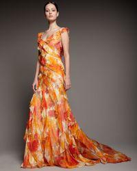 Carmen Marc Valvo | Orange Tiered Floral-print Dress | Lyst