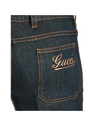 Gucci - Blue Wash Stretch Denim Flared Jeans - Lyst