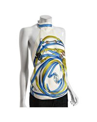 Gucci | White Strap and Tassel Printed Silk Backless Halter Top | Lyst