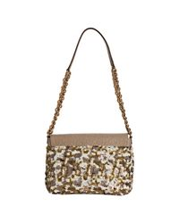 Marc Jacobs | Natural Beige Sequin and Leather Single Flap Shoulder Bag | Lyst