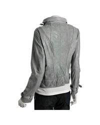 MICHAEL Michael Kors | Blue-grey Distressed Leather Asymmetrical Zip Jacket | Lyst