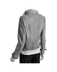 MICHAEL Michael Kors - Blue-grey Distressed Leather Asymmetrical Zip Jacket - Lyst
