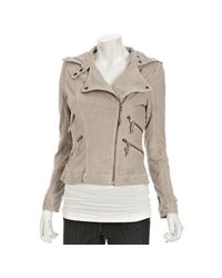 MICHAEL Michael Kors | Brown Clay Washed Suede Asymmetric Zip Motorcycle Jacket | Lyst