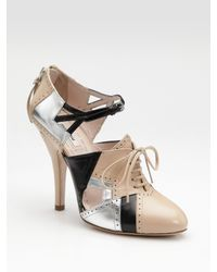 Miu Miu | Natural Tri-color Spectator Pumps | Lyst