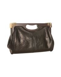 Rebecca Minkoff | Black Snake Embossed Leather Lovers Frame Clutch | Lyst